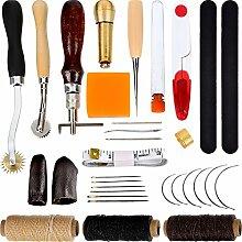32 Stück Handnähen Tool Kit Leder Handwerk Werkzeuge Stitching Tools Gehören Fingerhut Gewachst Thread Ahle