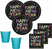 32 Teile Silvester und Neujahrs Party Deko Set 8 Personen