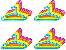 32er Set Kinder Kleiderbügel - Kunststoff, 33,5 x 20,5 cm (BxH), blau, gelb, orange und pink, mit Hosensteg und Einkerbung für Kleider und Träger