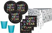 33 Teile Silvester und Neujahrs Party Deko Set 2018 für 8 Personen