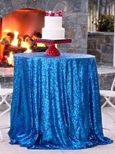 330cm rund hellblau Pailletten Tischdecke, Großhandel Hochzeit Schönes Silber Pailletten Tisch Tuch/Overlay/Cover