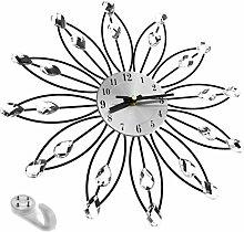 33CM HANDGEMACHT DIAMANT KRISTALL DAISY Modisch Silber Blumen WANDUHR