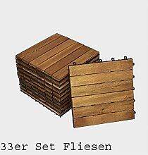 33er Spar-Set Holzfliese 01 für 3 m², Terrassenfliese aus Akazien-Holz, Fliese mit 6 Latten für Garten Terrasse Balkon, Balkon Bodenbelag mit Drainage-Unterkonstruktion für problemfreien Wasserablauf unter den Fliesen