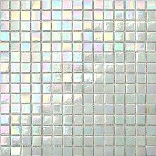 33x33cm Irisierende Perlmutt Weiß Schimmerndes