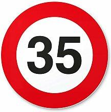 35. Geburtstag Schild - Verkehrsschild (20 x 20 cm), Geschenk zum 35. Geburtstag bester Freund / Freundin, Geschenkidee Geburtstagsgeschenk zum 35ten Geschenk 35er Geburtstagsparty