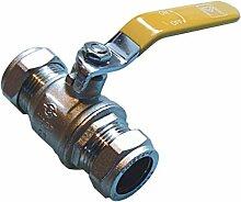35mm Hebel Kugelhahn–Gelb Griff
