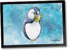 35 x 50 Fußmatte Pinguin Familie Nigel Baby
