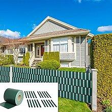 35M PVC Zaunfolie Grün Sichtschutz Rolle blickdicht Doppelstabmatten Zaun NEU