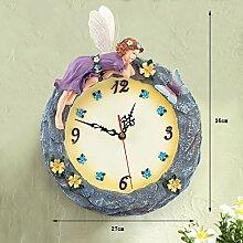 36 * 27cm Art und Weise kreative Harz Wanduhr Stummes Quarz-Wanduhr Kinderschlafzimmer Dekoration Glocke, Hauptdekoration Handwerk Anhänger by Home Déco Outle