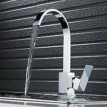 360° Drehbar Wasserhahn Küchenarmatur Einhebel Waschtischarmatur Waschbecken Waschtisch Spüle mit zwei Wasserrohre 3/8 Chrom