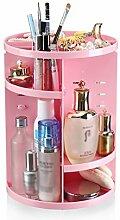 360 ° drehbare kosmetische Aufbewahrungsbox Desktop Skin Care Kunststoff-Regal (3 Farben erhältlich) ( farbe : Pink )
