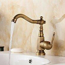 360 Grad drehbare Einhand-Badarmatur Antik Messing