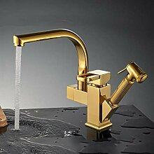 360 Grad-Umdrehung Küchenarmatur Gold poliert