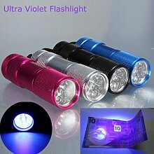 385-400nm 9 x UV-LED-Ultra Violet Taschenlampe AAA.