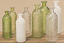 3868000 4er Set Vasen Jessy Glasmix lackiert Dekovase Dekoration Wohndeko 25 cm hellgrün / grün / klar / weiß