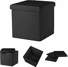 38x38x38CM Faltbarer Sitzhocker Schwarz Sitzwürfel Fuß Hocker Box Möbel Truhe
