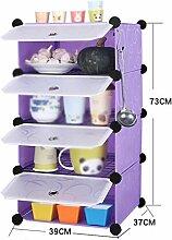 39 * 37 * 73cm Küche Regal Snacks Obst Desktop Storage Rack Mehrere Schichten Tür Shelf Trümmer Frame Storage Rack ( Farbe : Lila )