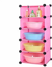 39 * 37 * 93cm Badezimmer Regal Badezimmer Plastik WC Toiletten Badezimmer Abstellraum Rack Waschbecken Landung ( Farbe : Pink )