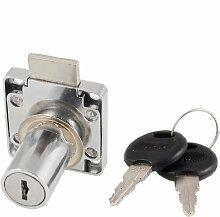 39mm x 39mm Buche Armatur Quadratischer Teller Glas Tür Lock Silber Ton w Schlüssel