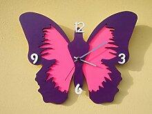 'Wanduhr Holz Schmetterling viole