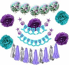 3CLifewaren Geburtstag Deko Set Meerjungfrau Happy