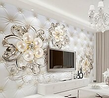 3D-3D Tapete 3D Wallpaper er für Wohnzimmer 3d-schönen europäischen Stil pearl Blumen Custom 3d Fototapete Home Decoration 350cmX250cm