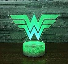 3D Acryl LED Nachtlicht Wonder Woman Logo Form