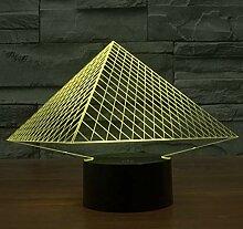 3D Acryl Nachtlicht Bunte Pyramide 3D Licht Led