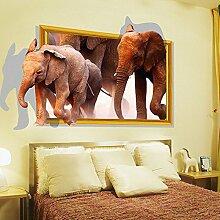 3D Afrikanische Elefanten Wand Aufkleber Home Aufkleber PVC Wandmalereien, Vinyl, Papier, House Dekoration Tapete Wohnzimmer Schlafzimmer Küche Kunst Bild DIY für Kinder Teen Senior Erwachsene Kinderzimmer Baby