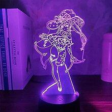 3D Anime Figur Lampe Genshin Impact Mona LED