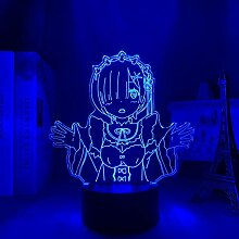 3D Anime Lampe LED Nachtlicht Re Zero Start Leben