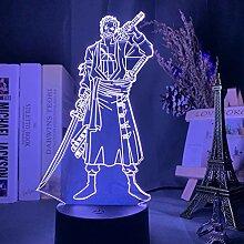 3D Anime Lampe Nachtlicht Roronoa Zoro Figur Led