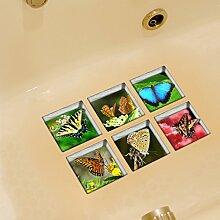 3D Antirutsch Badewanne Aufkleber, Netspower 6pcs 13x13cm Wasserdicht Selbst Klebstoff Badewanne Aufkleber Sticker 3D Muster-Drucken - Farbe 14