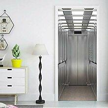 3D Aufzugstür, Wand, Kühlschrank,