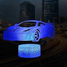 3D Auto Lampe LED Nachtlicht mit Fernbedienung,