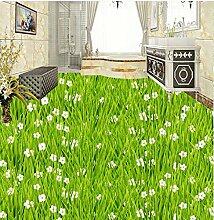 3D Badezimmer Tapete Wasserdicht Rasen Gras Blume