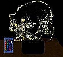 3D Bär Eisbären Lampe USB-Kabel Fernbedienung