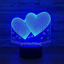3D Ballons Doppel Herz Form LED 3D Nachtlicht