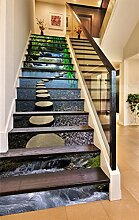 "3D Bambus Fluss Brücke 806 Stair Risers Dekoration Fototapete Vinyl Aufkleber Tapete DE Carly (13x H:18cm x W:102cm (7""x40""))"