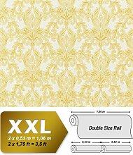 3D Barock Vliestapete EDEM 696-91 Tapete klassischer Stil mit Schnörkeln XXL hell gelb beige | 10,65 qm