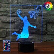 3D Basketball Lampe Nacht Licht Fernbedienung USB