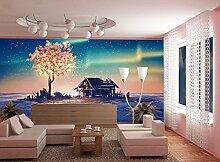 3D Baum Haus 026 Tapeten Drucken Abziehbild Deko