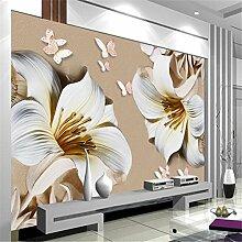 3D Benutzerdefinierte Fototapete Wandmalereien Wandbilder Geprägte Lilie Magnolie Tv 3D Tapete 3D Wallpaper 150Cmx100Cm