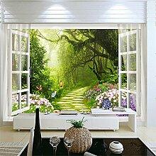 3D Benutzerdefinierte Tapete Außerhalb Des Waldes Blumen 3D Tv Hintergrund Wand Fototapete Wandmalereien 300Cmx200Cm
