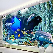 3D Benutzerdefinierte Tapete Ozean Quallen Dolphin Tv Wand Hintergrundbild Wandmalereien 400Cmx300Cm