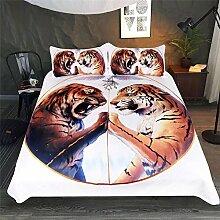 3D-Bettwäsche-Set Frieden Tiger Weiß Bettwäsche
