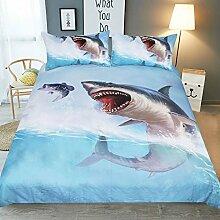 3D-Bettwäsche-Set Meer Wasser Hai Bettdecke