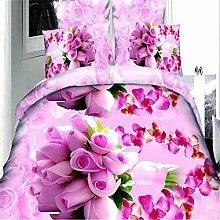 3D-Blüten, Bett-Sets von vier Sets, Rotationsnetzaktivität, Bedrucken und Färben (1 Bettwäsche + 1 Bettdecke + 2 Kissenbezüge) , #1