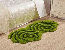 3D Blume Shaggy Teppich Matten für Zuhause Wohnzimmer Floral Rose Dicke Runde Teppiche, green, 90x160cm