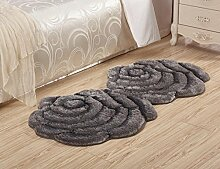 3D Blume Shaggy Teppich Matten für Zuhause Wohnzimmer Floral Rose Dicke Runde Teppiche, gray, 70x140cm